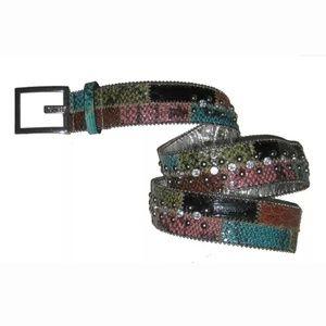 Guess Belt Patchwork Reptile Skin Pattern